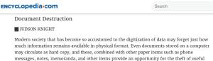 encylopedia.com document destruction article screen shot