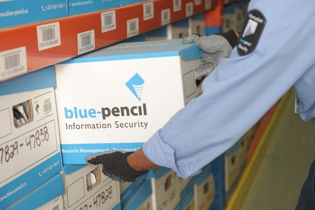 Blue-Pencil box being moved from racking