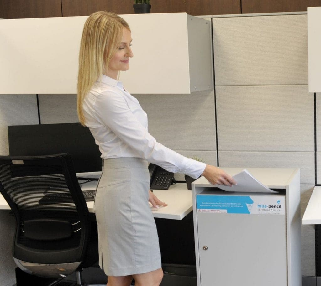 Office shredding services customer using console