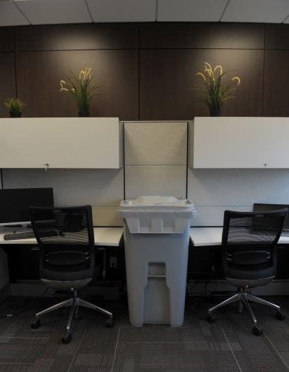 65 gallon shredding bin in an office